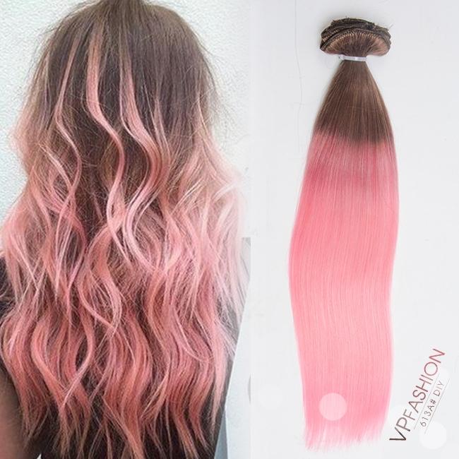 Braun und rosa zwei farbe ombre extensions aus echthaar for Ombre blond braun