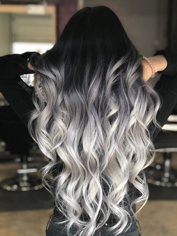 Black to Silver Ombre Clip in Extensioins aus Echthaar C066