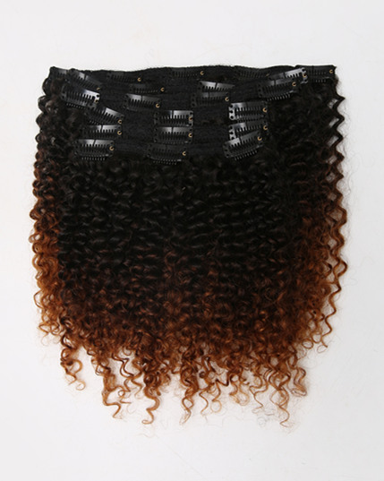 Curly Ombre remy clip in hair extensions Curly01