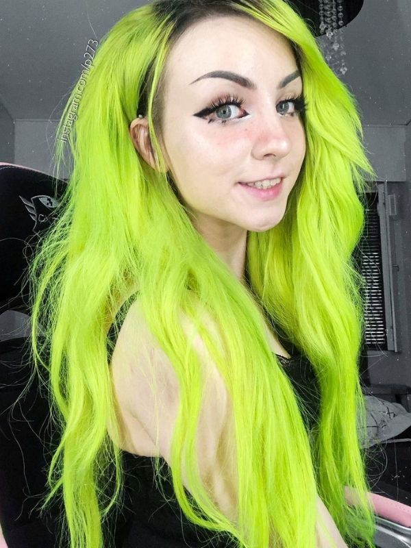 Black to Lime Green Part Lace Front Human Hair Wig Petra02