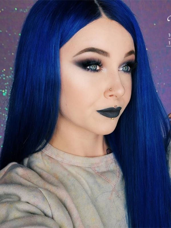 Blue Middle Part Lace Front Human Hair Wig Sarah01