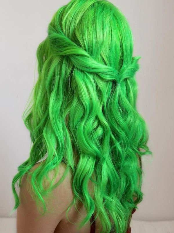 Green Middle Part Lace Front Human Hair Wig Stella01