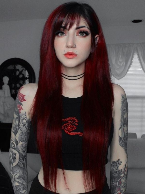 Black to Red Middle Part Lace Front Human Hair Wig Vanessa