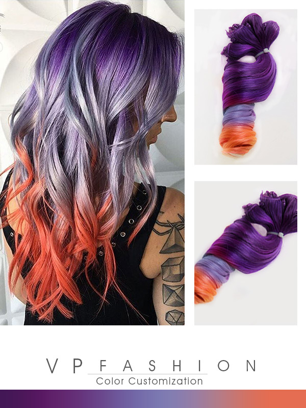 Tolle Drei Farbige Ombre Clip in Echthaar Extensions C074