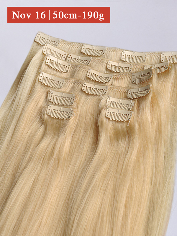 50cm 190g Helle Farbe #613a Clip in Extensions BF003