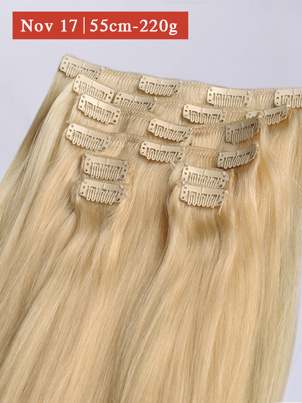 55cm 220g Helle Farbe #613a Clip in Extensions BF005