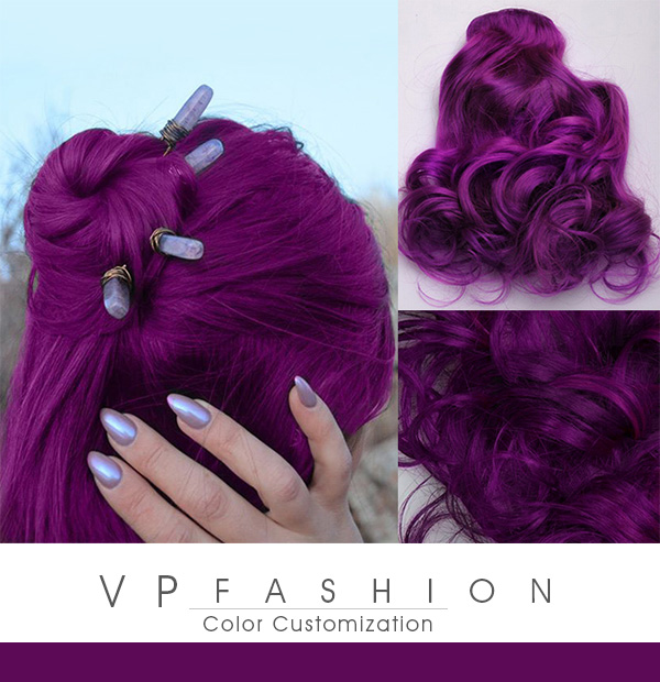 Dunkelmagenta Purple Clip in Extensions aus Echthaar VPfashion R037