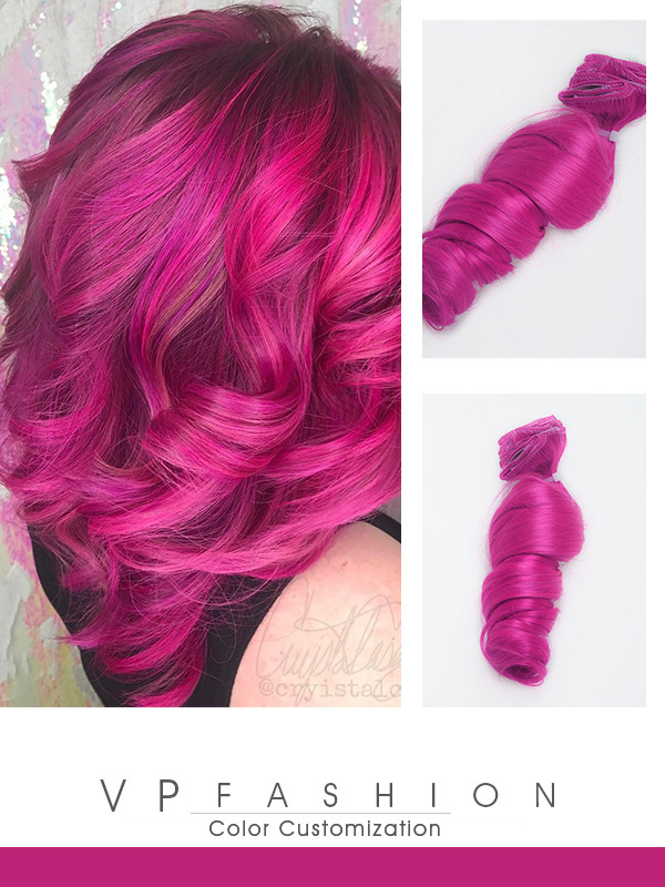 Auffällig Rosa Farbige Clip in Echthaar Extensions C073