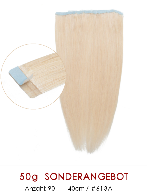 40cm 50g #613A Vpfashion Tape in Echthaar Extensions  TP004
