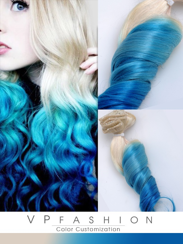 Blond-Turqoise-Blau Ombre Clip in Remy Echthaar Extensions C015