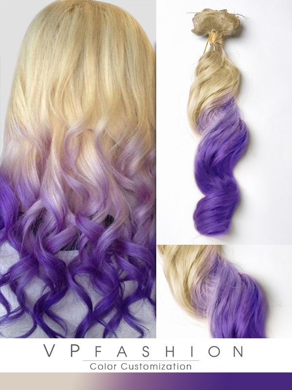 Blond-Lila Bunte Pastel Ombre Clip in Remy Extensions C016