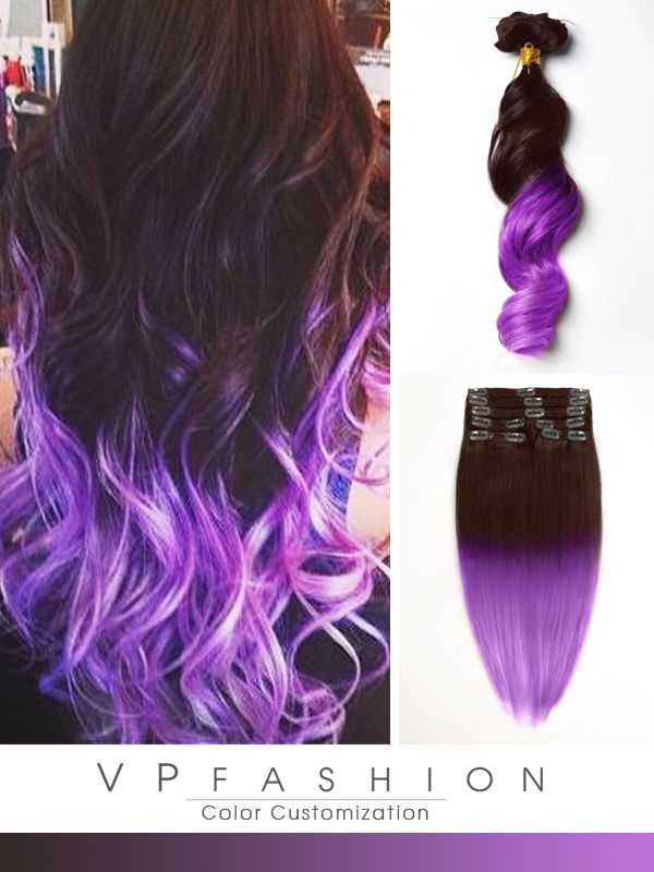 Braun-Lila Mermaid Bunte Ombre Clip in Remy Extensions C024