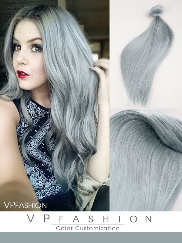 Einfarbige Silver Echthaar Clip in Extensions C035