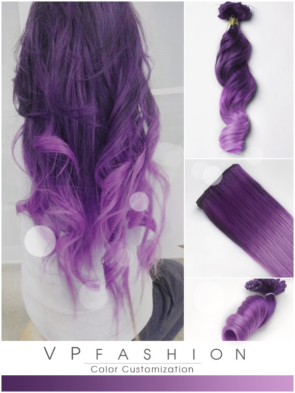 Lila und Lavendel Leicht Ombre Clip in Style Remy Extensions C012
