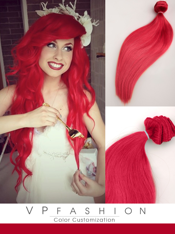 Traci ROT Sexy Mermaid Farbige Remy Clip in Extensions C039