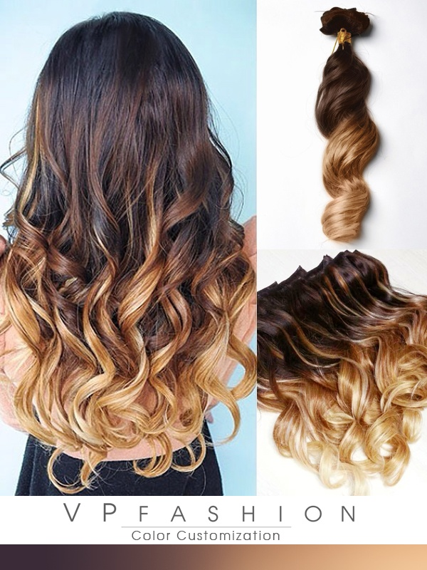 2-Tone Ombre Remy Haar Mit Clips Extensions M003