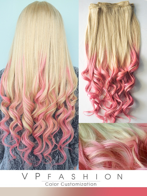 Traumhaft Pink Ombre Remy Clip in Extensions C61301