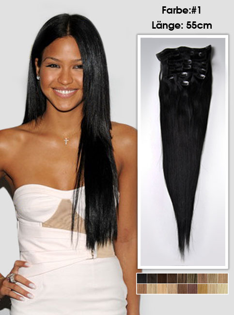 55cm 1# Indian Remy Haar Extensions mit Clips gs122 (125g)