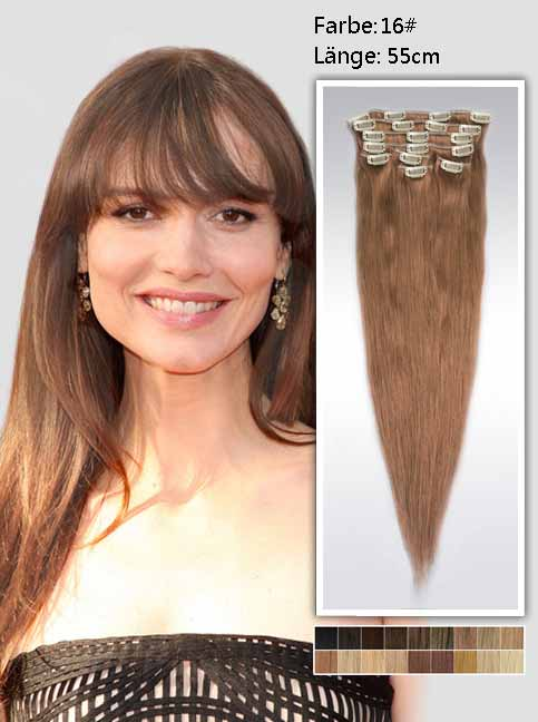 55cm 16# Indian Remy Haar Extensions mit Clips gs1622 (125g)