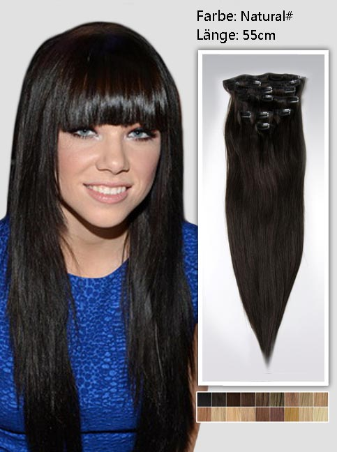 55cm 2# Indian Remy Haar Extensions mit Clips gs222 (125g)