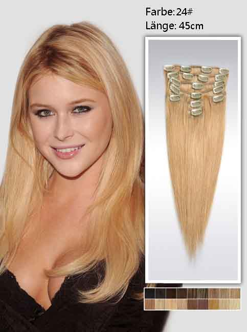 45cm 24# Indian Remy Haar Extensions mit Clips gs2418 (100g)
