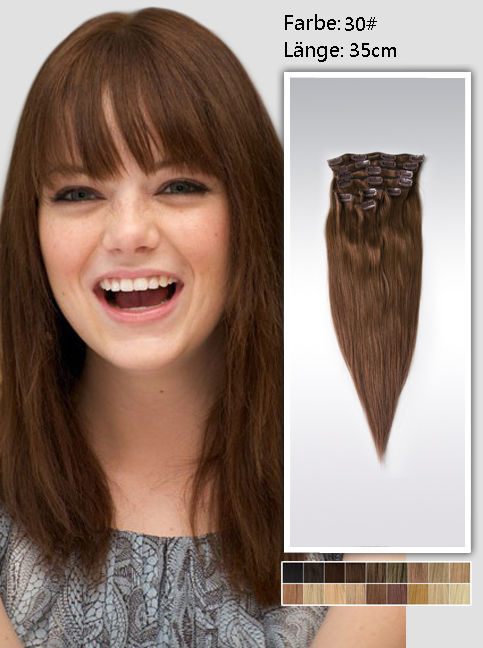 35cm 30# Indian Remy Haar Extensions mit Clips gs3014 (95g)