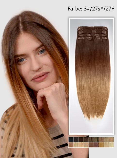 60cm Indian Remy Haar Extensions mit Clips gso524 (135g)