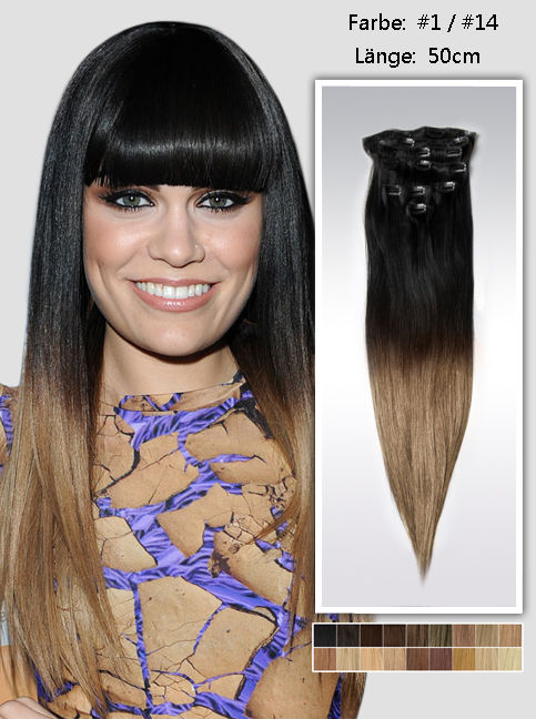 50cm Indian Remy Haar Extensions mit Clips gso920 (115g)