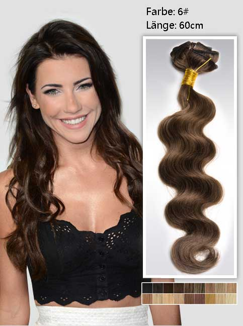 60cm 6# Indian Remy Haar Extensions mit Clips gw624 (135g)