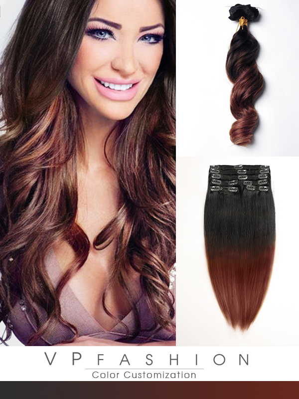 60cm Indian Remy Haar Extensions mit Clips gwo1324(135g)