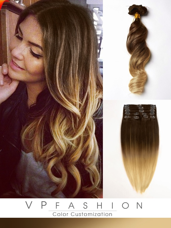 Zwei-Farbige Ombre Vpfashion Echthaar Clip in Extensions M007