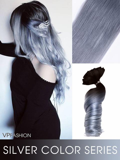 Romantisch Silver Ombre Clip in Extensions C002