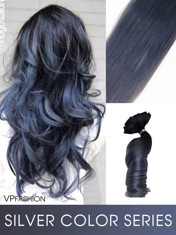 Zwei Ombre Farbe Clip in Silver Echthaar Extensions C042