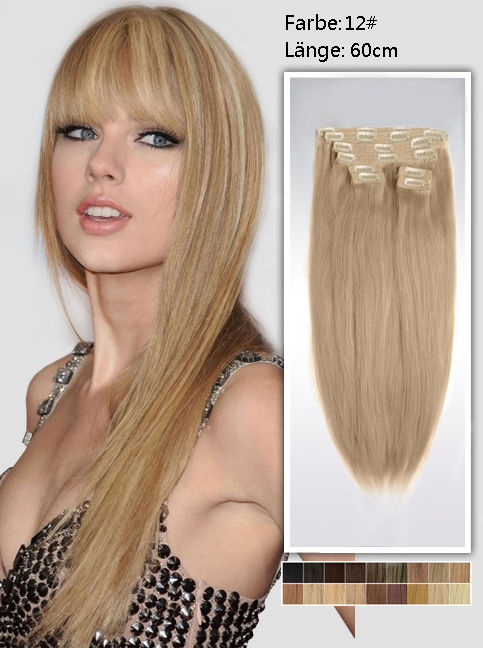 60cm 12# Indian Remy Haar Extensions mit Clips gs1224