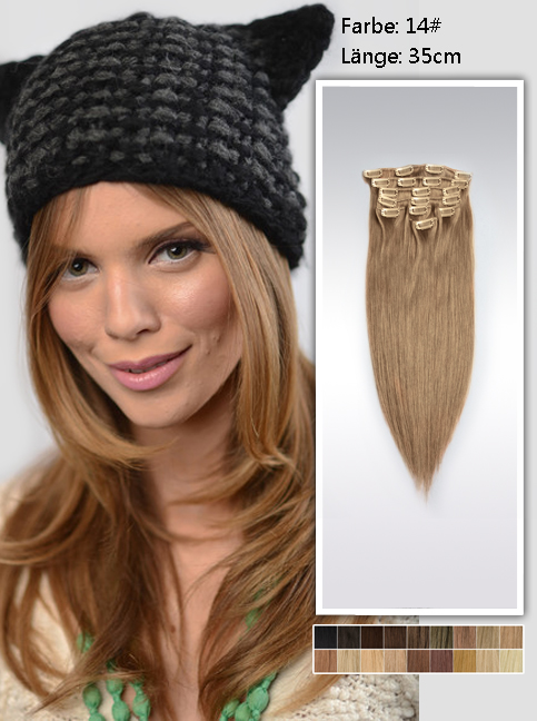 35cm 14# Indian Remy Haar Extensions mit Clips gs1414 (95g)