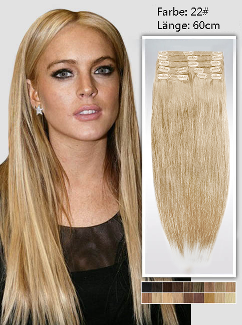 60cm 22# Indian Remy Haar Extensions mit Clips gs2224 (135g)