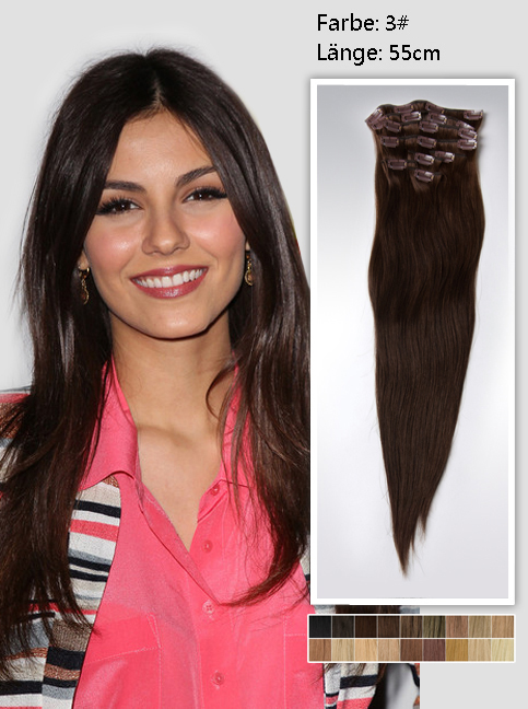 55cm 3# Indian Remy Haar Extensions mit Clips gs322 (125g)