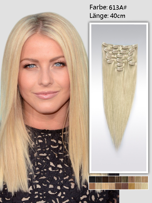 40cm 613a# Indian Remy Haar Extensions mit Clips gs613a16 (95g)