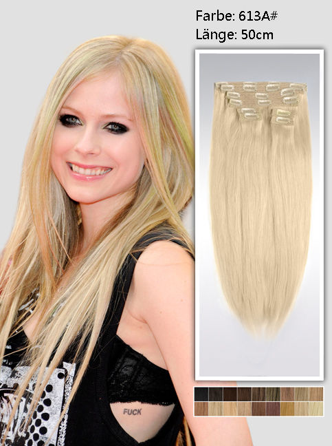 50cm 613a# Indian Remy Haar Extensions mit Clips gs613a20 (115g)