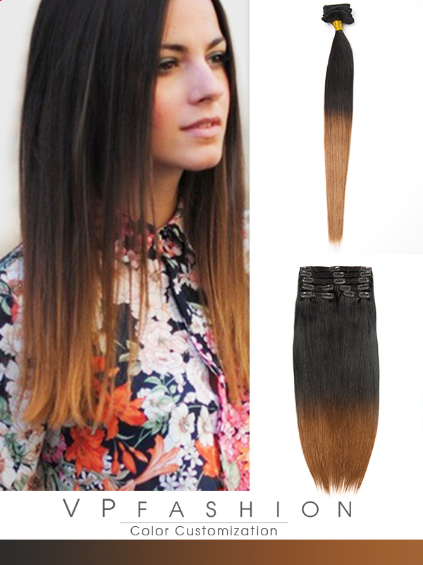 45cm Indian Remy Haar Extensions mit Clips gso118 (100g)