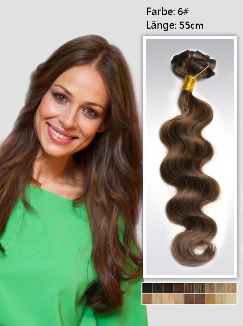 55cm 6# Indian Remy Haar Extensions mit Clips gw622 (125g)