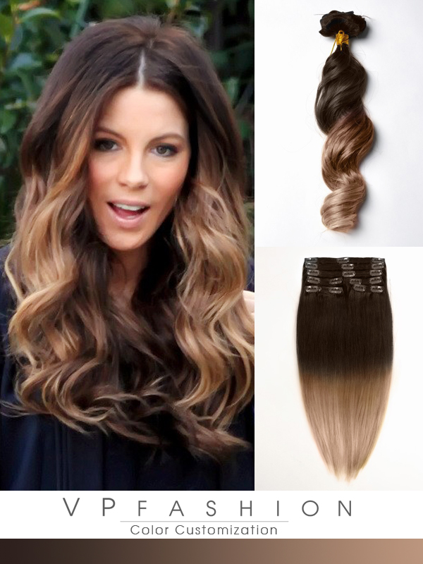 Vpfashion Echthaar Extensions mit Clips gwo1418