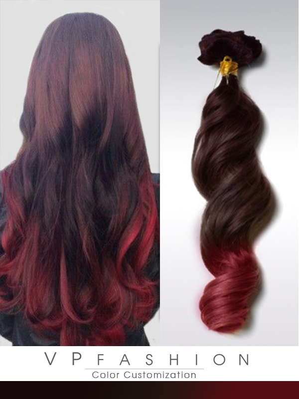 schwarzbraun rot ombre clip in extensions r021 r021. Black Bedroom Furniture Sets. Home Design Ideas
