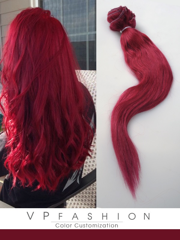 Weinrot Sexy Winter Farbige Remy Clip in Extensions R033